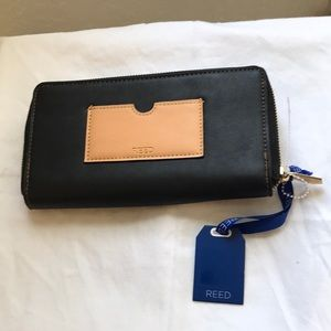 REED DOUBLE ZIP BLK/ SADDLE WALLET